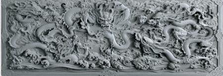 石雕浮雕九龙花鸟浮雕别墅装饰