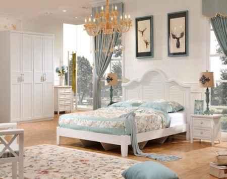 田园风格卧室床衣柜组合