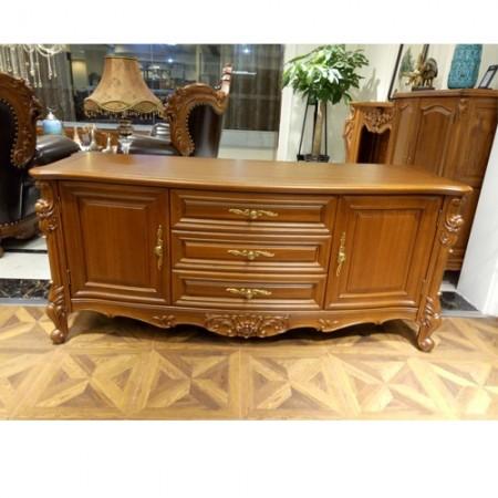 缅甸瓦城老柚木欧式雕花卧室电视机柜豪华低柜