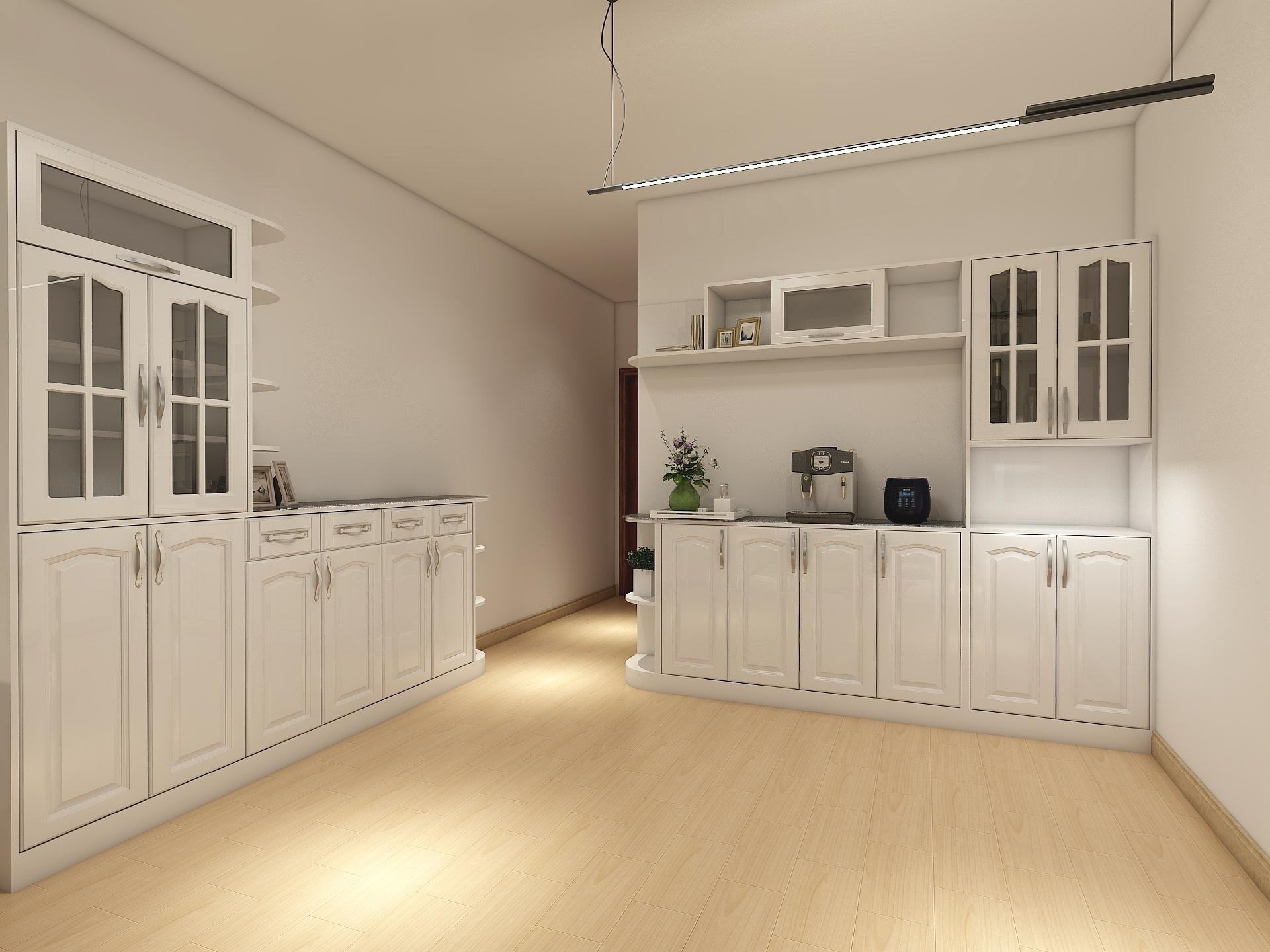 一款简欧风格的鞋柜和餐边柜的组全,全部采用暖白色,走道 边巧妙地