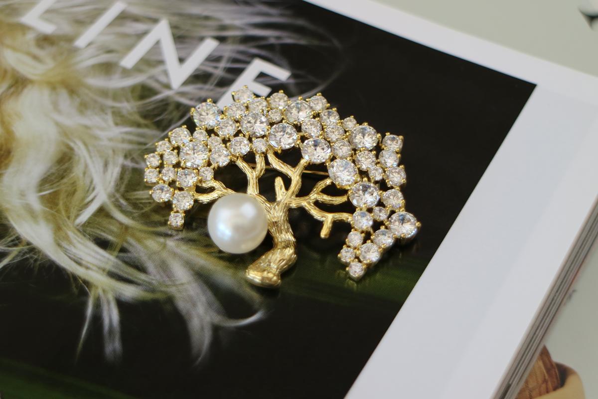 天然珍珠幸福树胸针