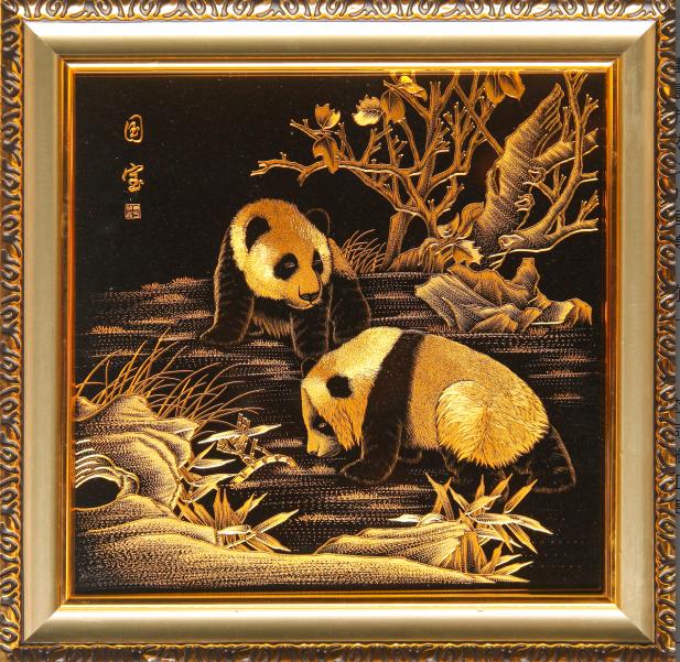 熊猫金雕画图片