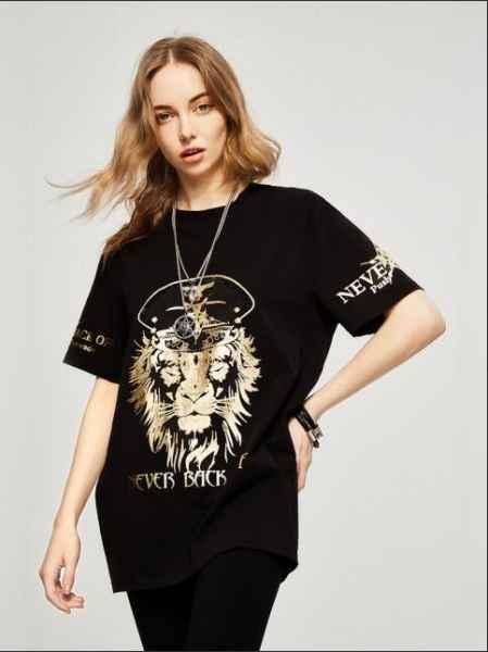 TCH狮虎兽T恤宽松五分袖