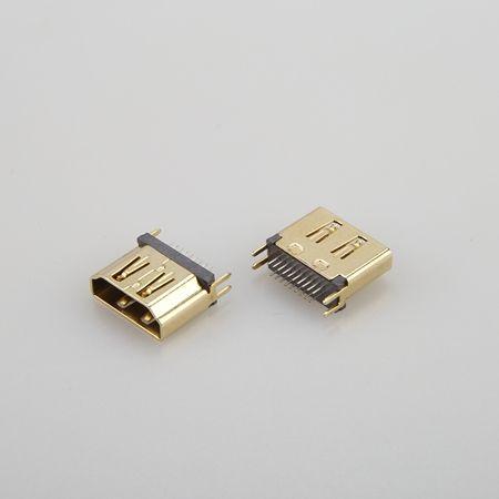 湖北HDMI AF 母座19PIN 夾板1.0-1.20-1.60mm 外殼鍍金生產