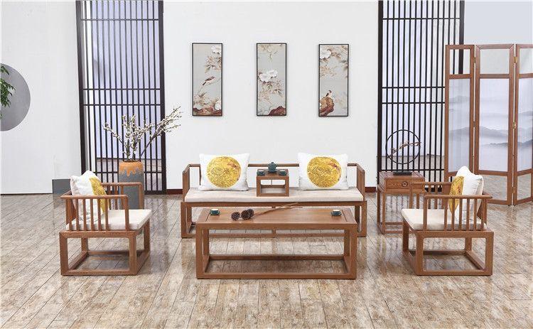 新中式客厅实木沙发厂家