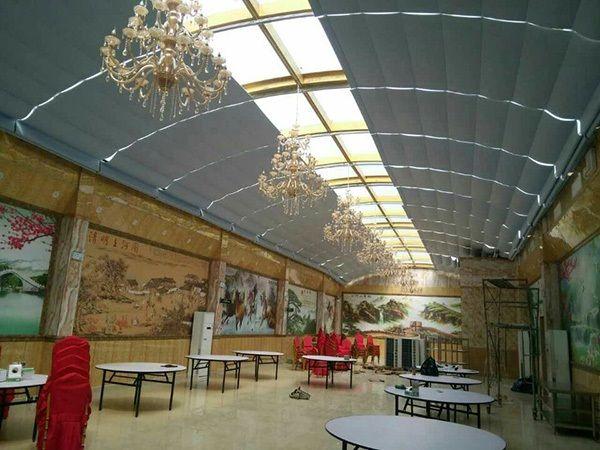 商场玻璃顶电动折叠式天棚遮阳帘