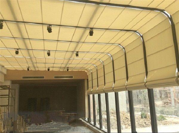 弧線型陽光房頂棚電動遮陽簾