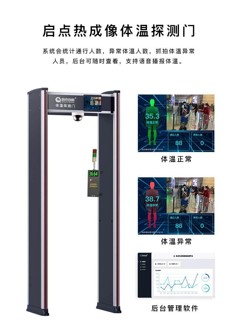 温州公共场合体温筛查仪,热成像人体测温安检门系统,异常体温抓拍系统