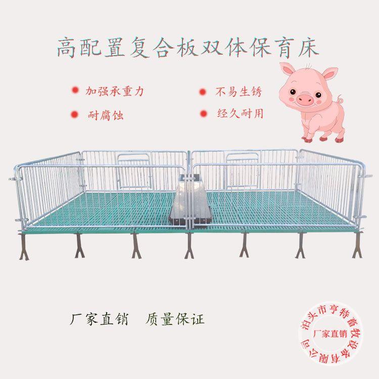 仔猪保育床断奶仔猪用复合漏粪板双体保育栏连体小崽猪床畜牧设备