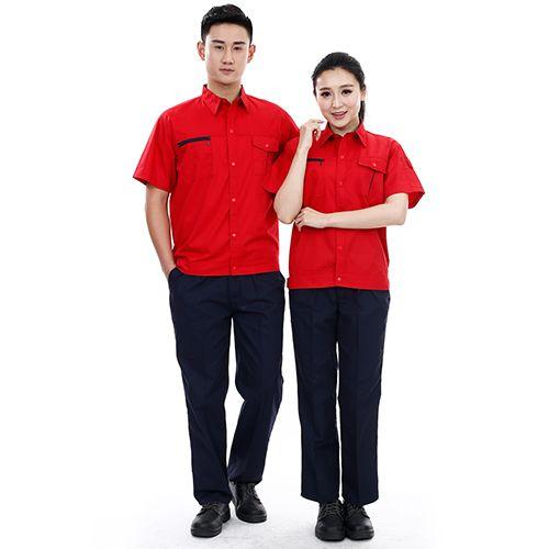 滌棉細斜西裝領夏裝短袖工作服定制,翻領工裝定制,班服定制,工裝定做