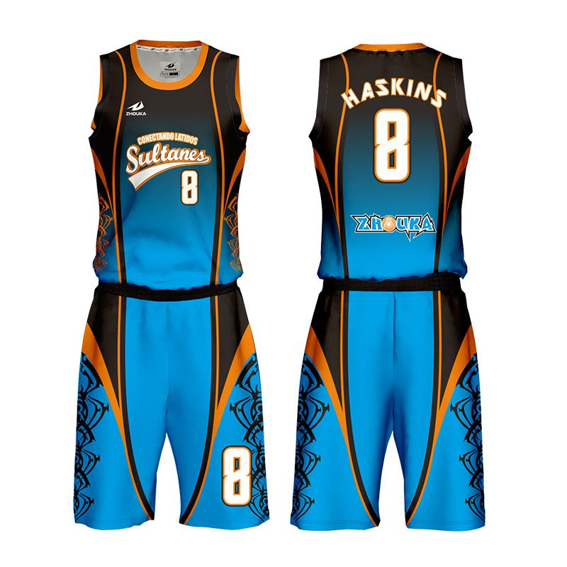 广州洲卡篮球服英文定制来图来样定做