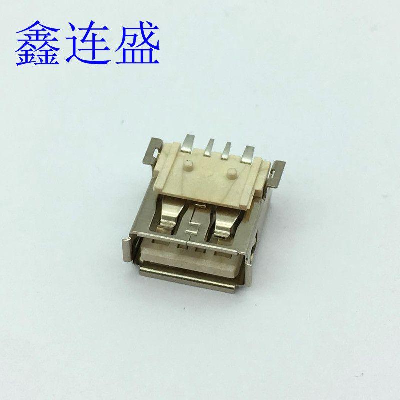 USB母座大电流方脚贴板卷边