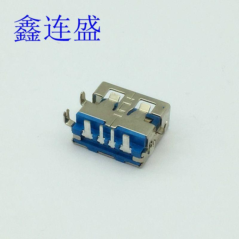 USB母座大电流沉板1.9插板直边蓝色