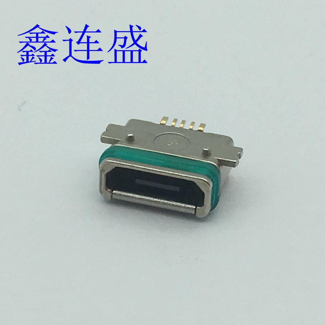 MICOR USB 5P 母座防水全贴 带固定柱 贴板