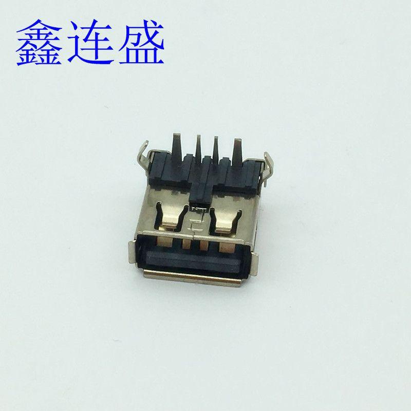 USB 母座90度大电流弯脚卷边带后盖