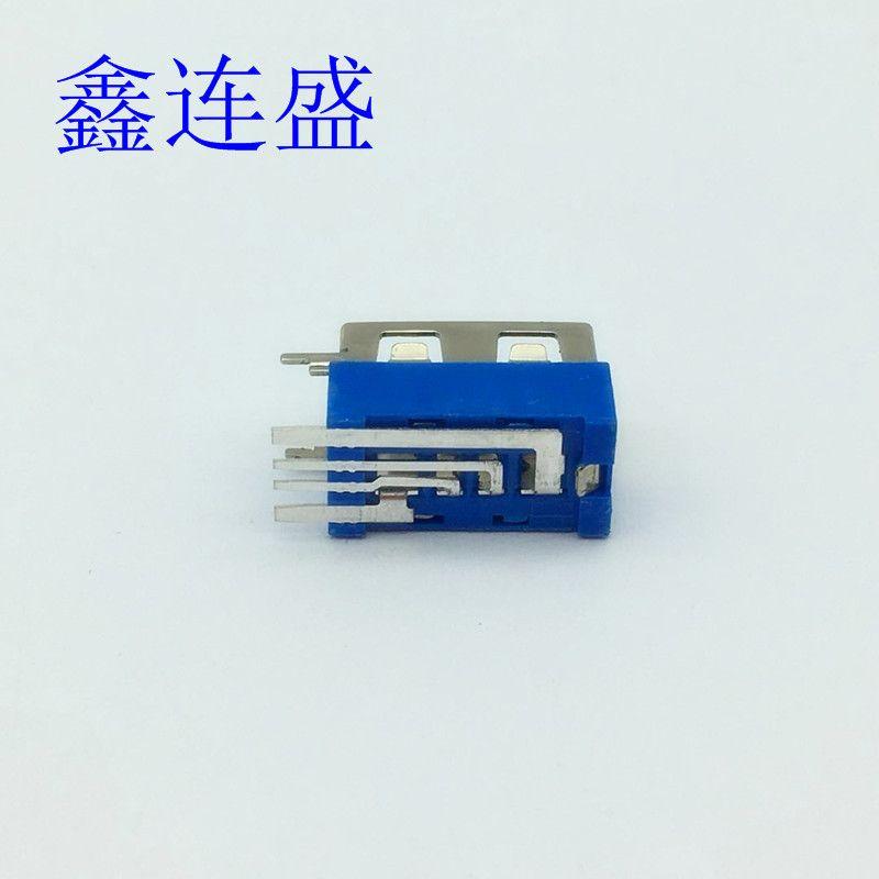 USB母座大电流侧插短体10.0半包蓝色