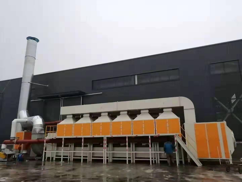 催化燃燒設備處理橡膠業廢氣流程樣子