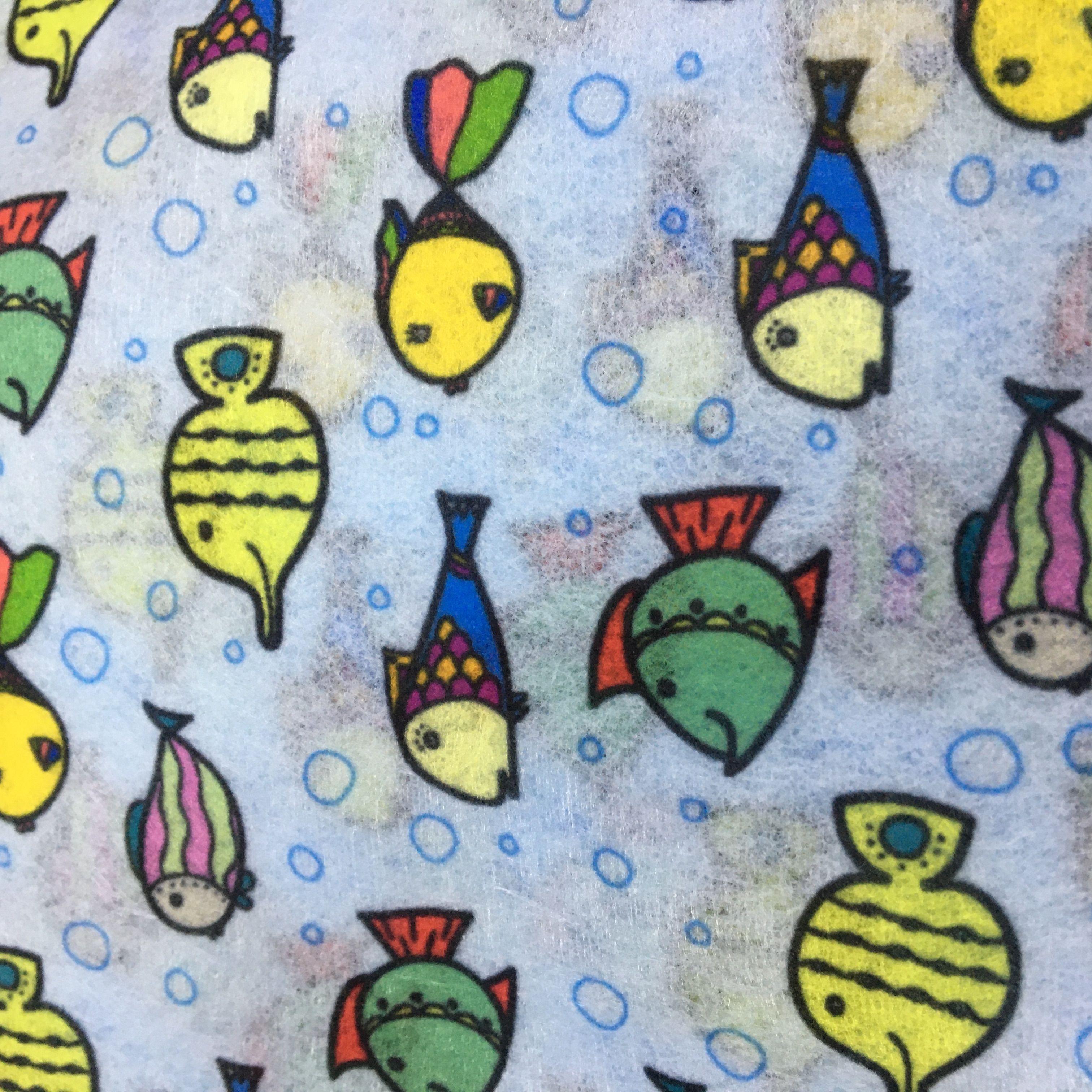 泉州现货儿童水刺印花无纺布 金鱼卡通图案