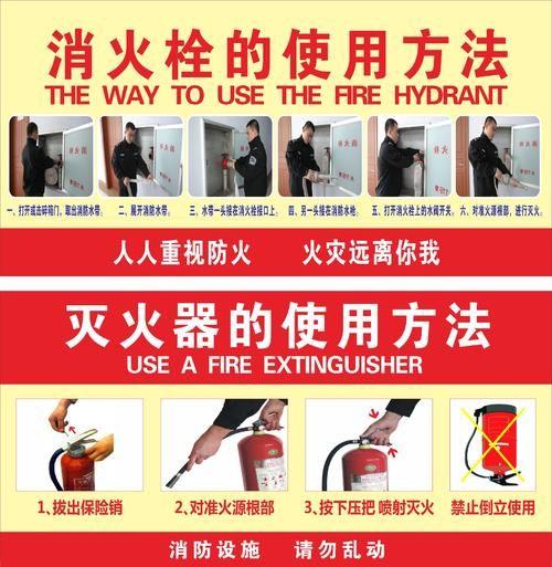 灭火器消火栓消防栓的使用方法说明贴纸