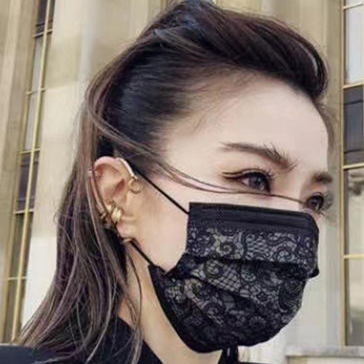 厂家现货供应黑色蕾丝水刺布口罩时尚精美
