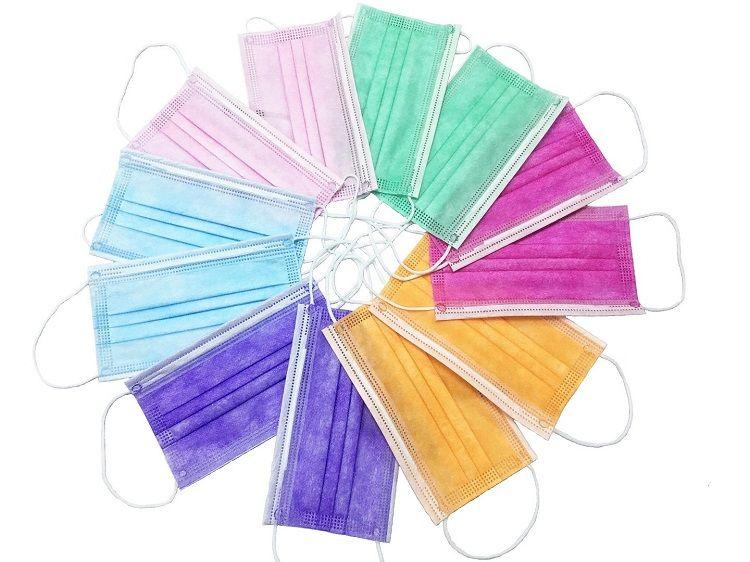 福建现货厂家一次性彩色三层口罩 率效达标口罩