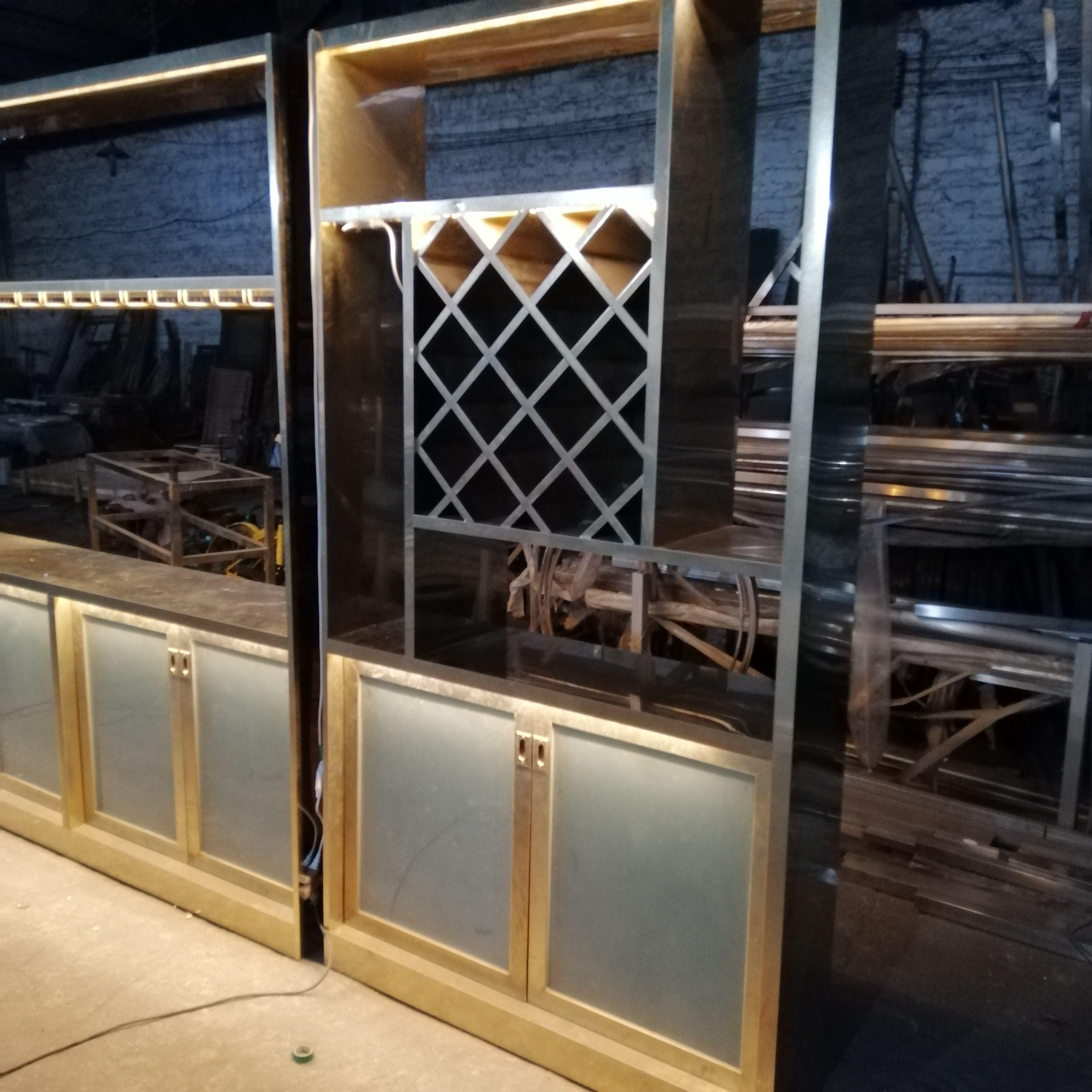 佛山定制玫瑰金酒柜架 不銹鋼恒溫酒柜