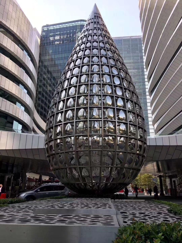 佛山厂家批发定制售楼部喷泉不锈钢造型 假山造型 不锈钢简约抽象艺术造型
