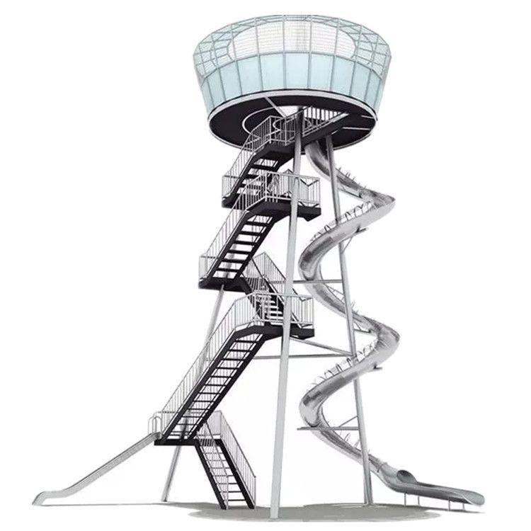 戶外景區公園無動力不銹鋼滑梯小區攀爬拓展非標定制兒童游樂設備