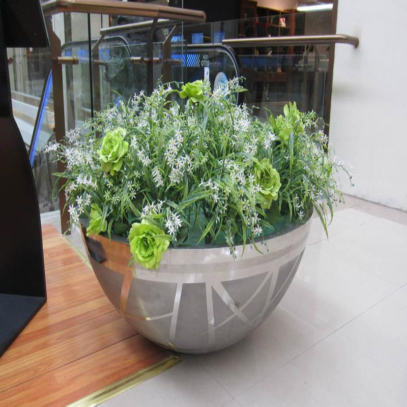 圆形花盆花箱 不锈钢拉丝花瓶