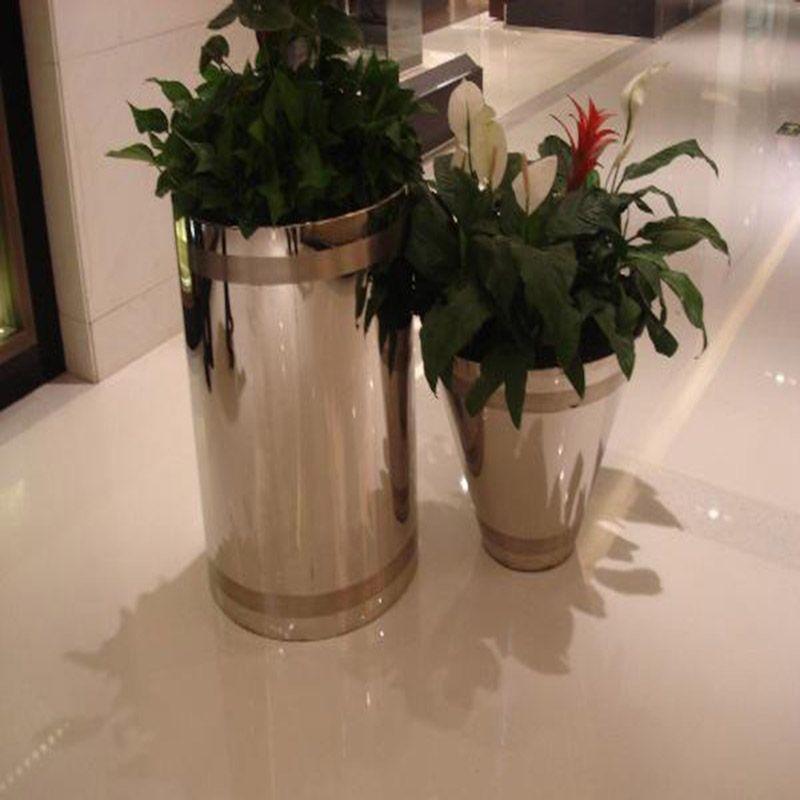 定做不锈钢花盆 花瓶花桶落地 圆形花盆花箱