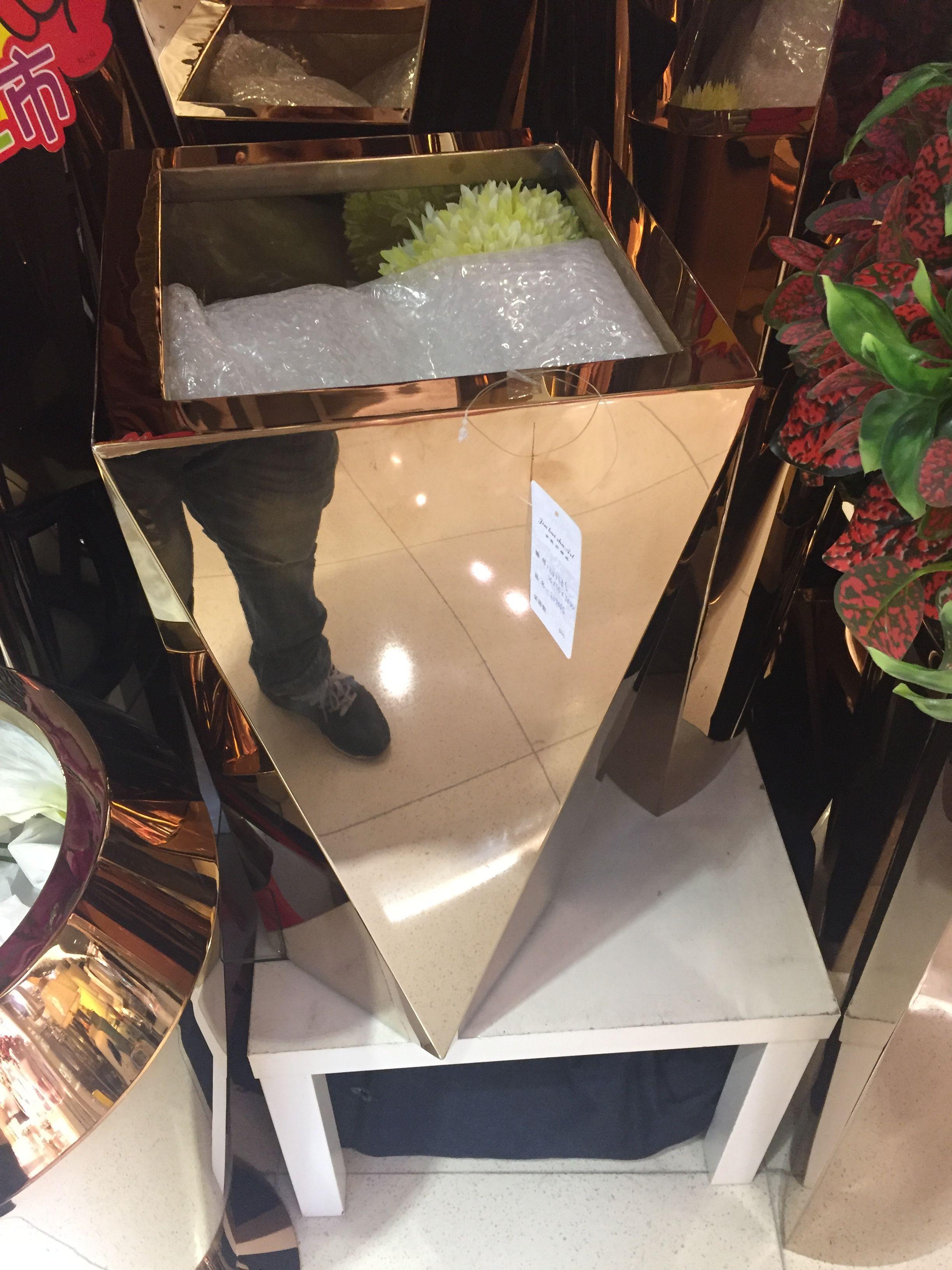 厂家直销室内大堂不锈钢花盆 锥形不锈钢花盆
