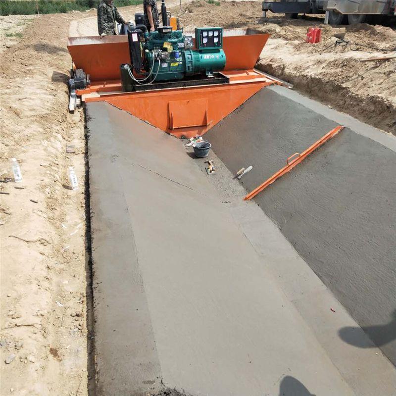 梯形自动修水渠机器渠道现浇成型机 水渠成型机,水渠滑模机,边沟滑模机