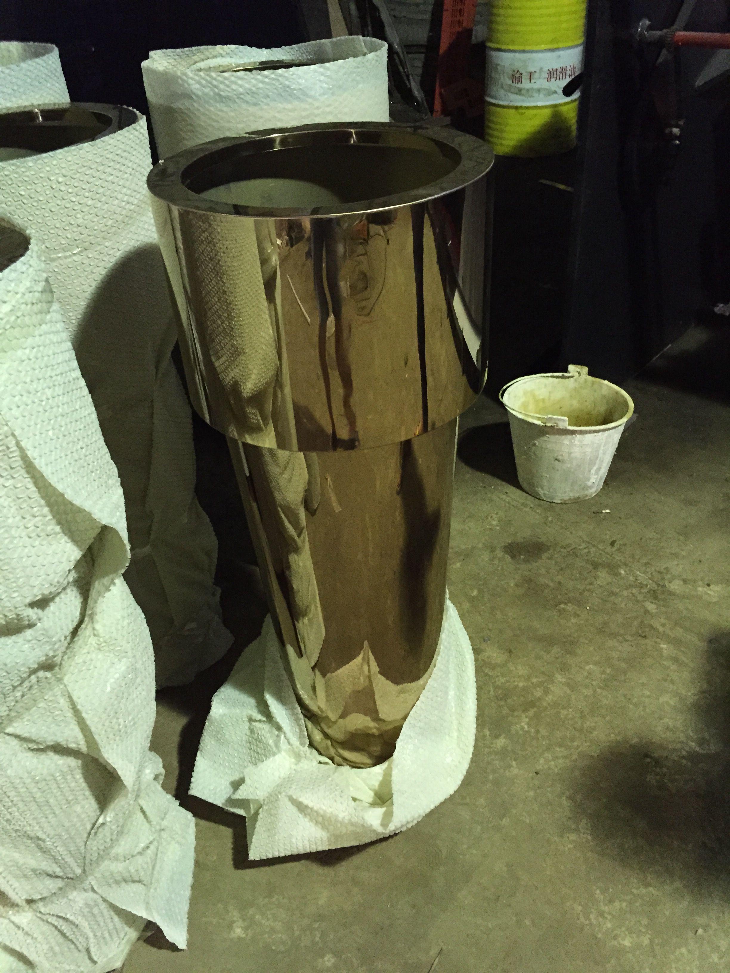 黑钛不锈钢花盆圆形花器摆件组合式不锈钢工艺花盆