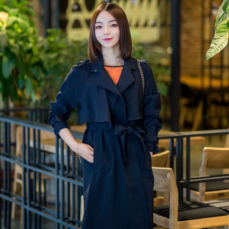 韩国新款风衣中长款