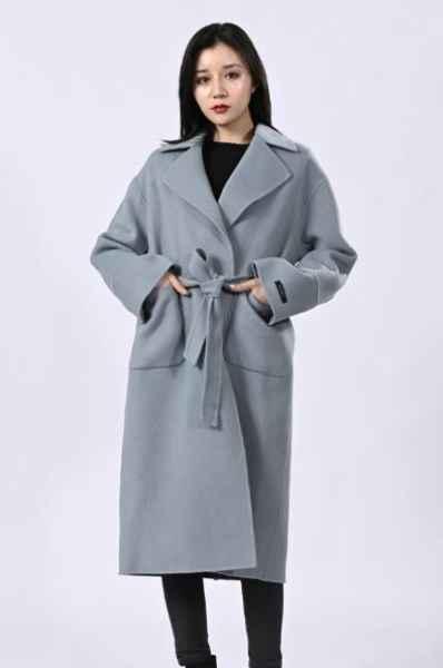秋冬蓝色羊绒大衣批发