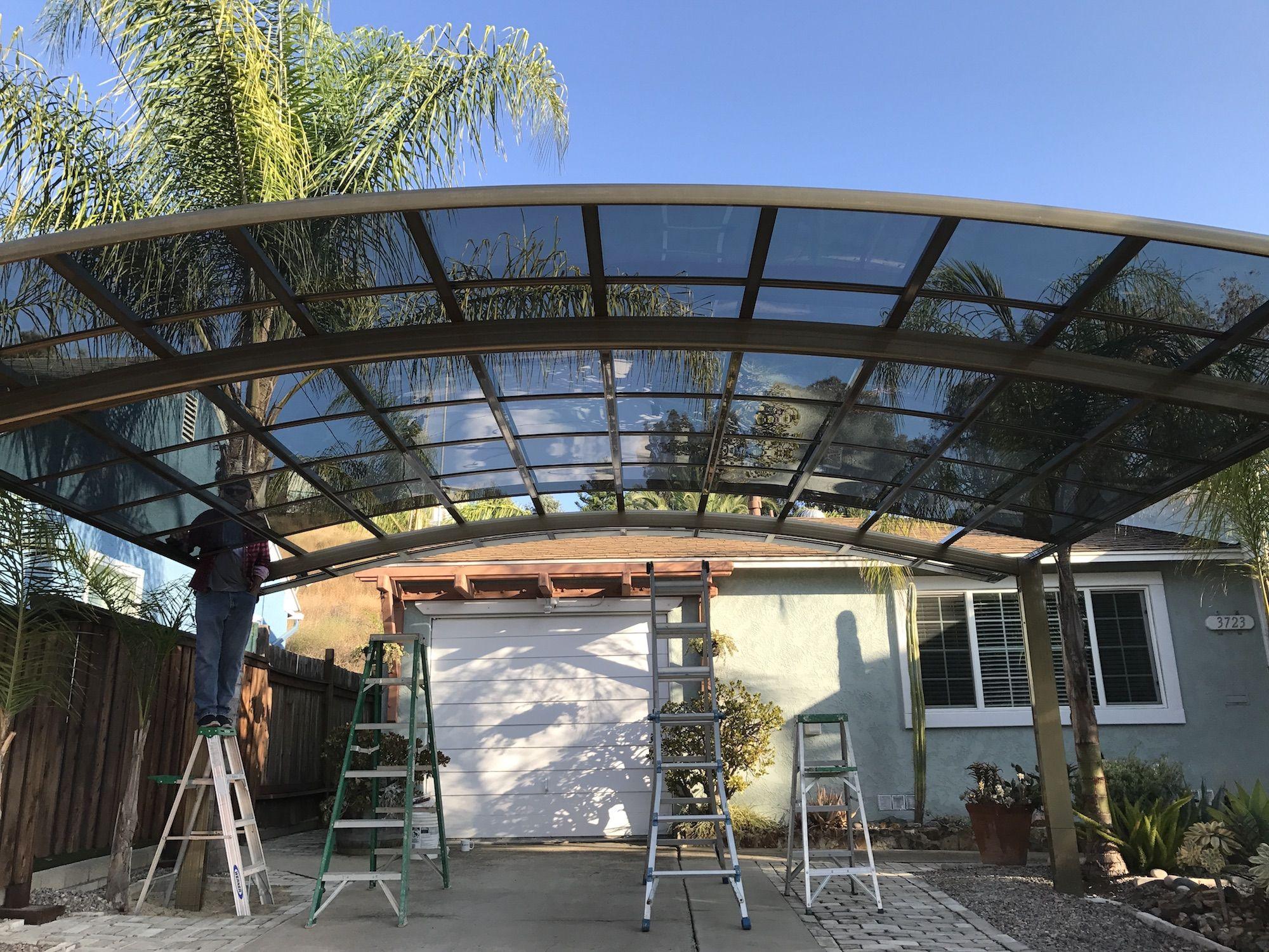 4mm陽光板雨棚透明草綠耐力板報價方案