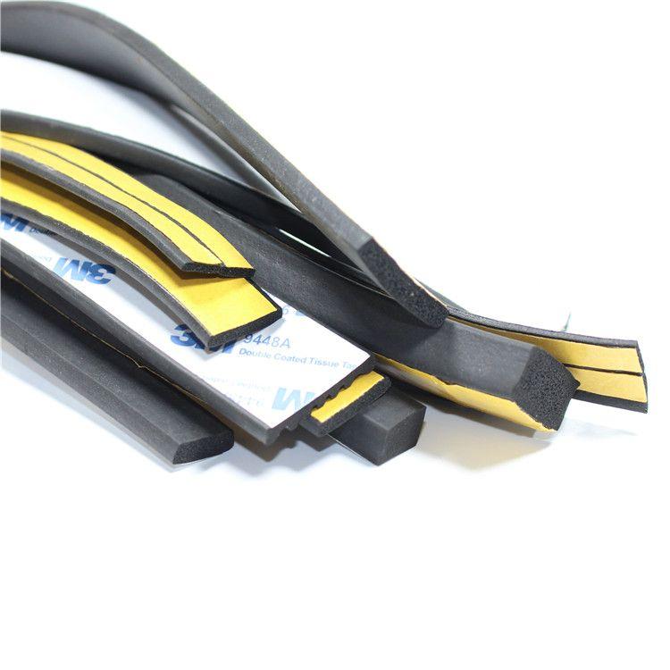 自粘型静音防尘防撞硅胶密封条 平板发泡胶条 EPDM黑色平板密封条