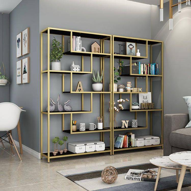 佛山蓝博旺供应不锈钢展示架 客厅多功能展示架 金黄色展示架