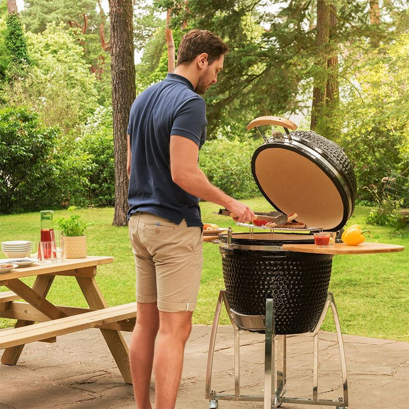 陶瓷燒烤爐kamado grill戶外休閑BBQ煙熏爐21英寸多功能聚會牛排爐