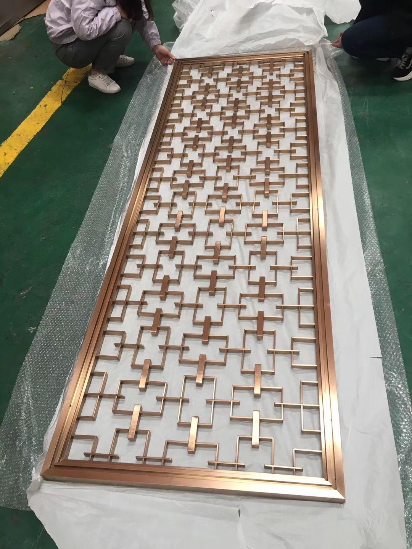 拉丝不锈钢屏风|镀钛拉丝不锈钢屏风隔断厂家