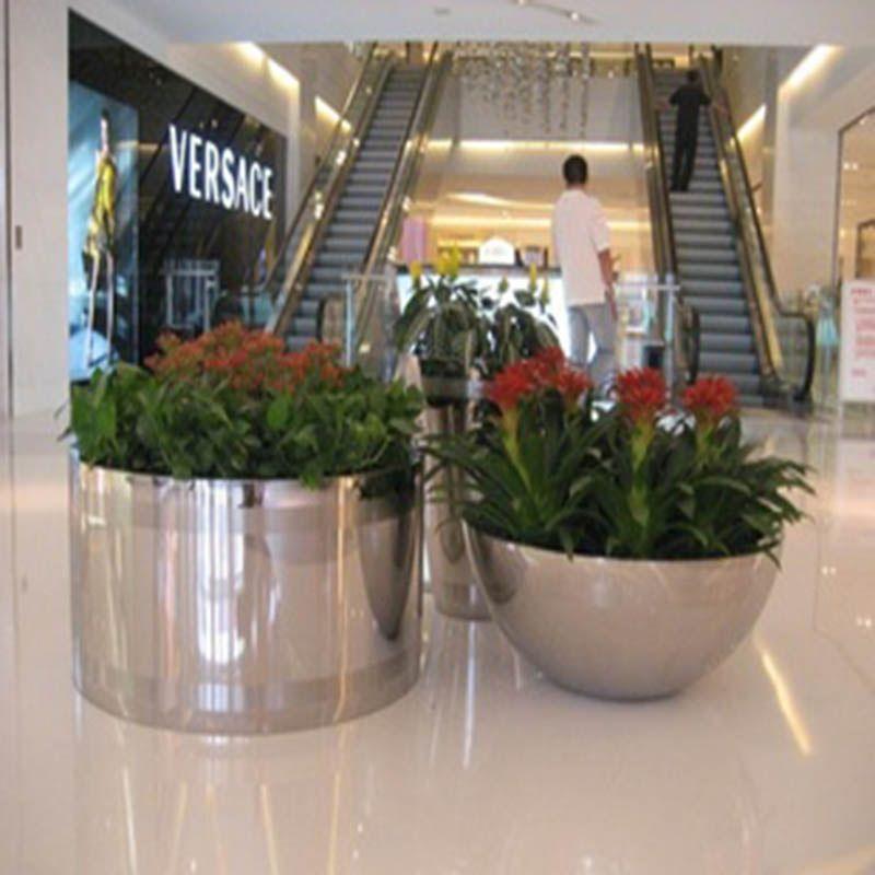 热卖不锈钢花瓶大花器 落地金属花盆 别墅酒店机场 可定做圆形花瓶