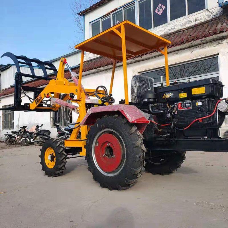 多功能轮式小铲车农用抓草机抓木机建筑机械06型小型装载机