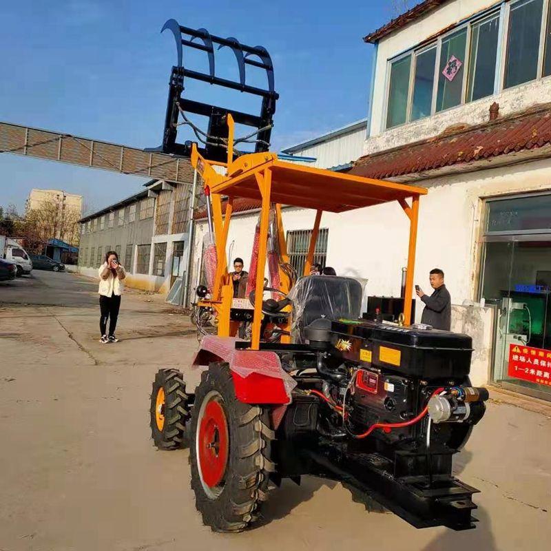 现货销售农用叉式装载抓草机 小型轮式抓草抓木机