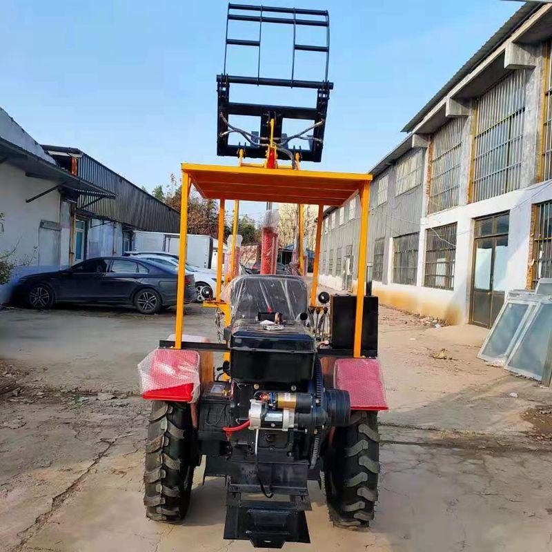 工程农用装载机小铲车四驱轮式小型装载机抓草机抓木机