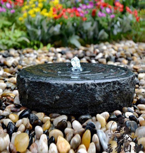 石雕水钵庭院禅意石钵流水摆件磊泰园林鹅卵石水槽