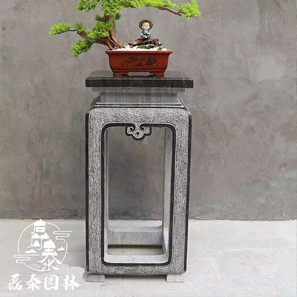 石雕仿古花架阳台石头花托磊泰园林大理石花盆底座