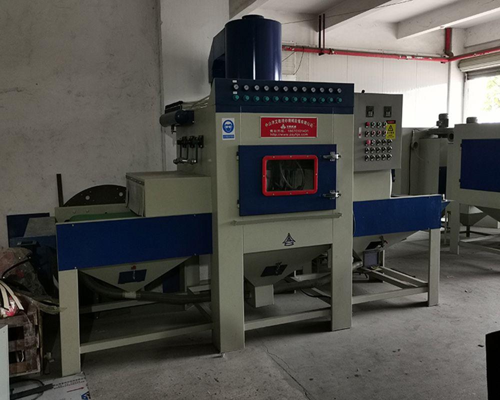 加强喷漆附着力打印机表面部件喷砂 中卫通过式自动喷砂机