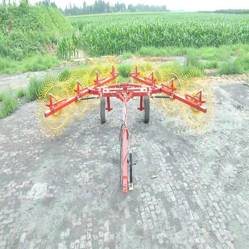 双侧液压6盘指盘搂草机 拖拉机牵引式搂草机 玉米秸秆搂草机
