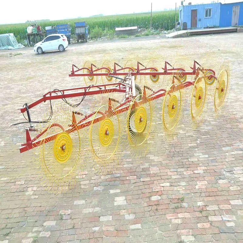 农用搂草机 指盘搂草机 双侧液压6盘弹齿搂草机秸秆牧草搂草机