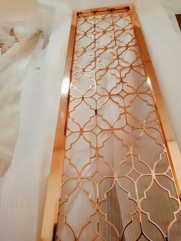 厂家定制不锈钢镂空屏风大厅隔断钛金不锈钢屏风